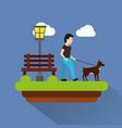 Man walking their dog pet park scene with bench