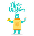 merry christmas greeting card big bear in sweater vector image