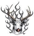 monochromatic deer with horns fire logo design vector image