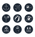 monochrome icons travel set in round frames vector image vector image