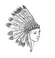 native american head of indian man in traditional vector image vector image