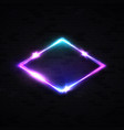neon rhombus background on black brick wall vector image