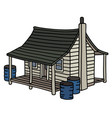 old white planked house vector image