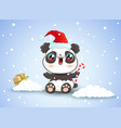 panda on snow in kawaii style for christmas vector image vector image