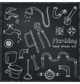 Plumbing hand drawn decorative icons set vector image vector image