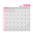 practical light-colored planner 2019 may flat vector image vector image