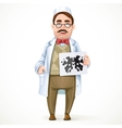 Psychiatrist doctor in a white coat and a vector image