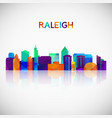 raleigh skyline silhouette in colorful geometric vector image vector image