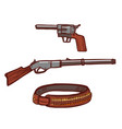 revolver rifle and cartridge belt in hand-drawn vector image
