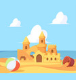 sandcastle on seaside beautiful summer building vector image vector image