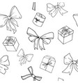 seamless pattern bows and presents vector image vector image