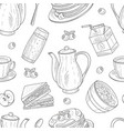 seamless pattern with hand-drawn breakfast vector image vector image