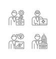 senior executive roles rgb linear icons set vector image