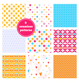 set of nine rainbow seamless patterns vector image vector image