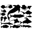 set of sea underwater fish silhouettes vector image vector image