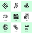Set of white casino icons vector image vector image