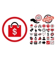 Shopping Bag Flat Icon with Bonus vector image
