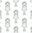 Sketch cute little girl vector image vector image