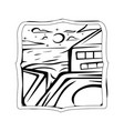 starry night beach badge starry view with vector image vector image