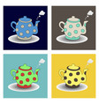 teapot kettle tea kettle icon and silhouette vector image vector image