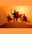 three hundred spartans at battle vector image vector image