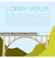 Train on the bridge banner vector image vector image