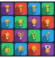 Winner trophy and award icons in flat style vector image