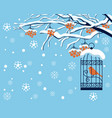 winter landscape with snow-covered rowan and bird vector image