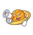 with megaphone planet saturnus character cartoon vector image vector image
