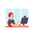 young man blogger creating content and posting it vector image vector image