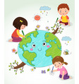 kids drawing the earth vector image