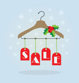 christmas holiday red hanging sale tags on hanger vector image