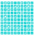 100 app icons set grunge blue vector image vector image