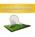 Badminton shuttlecock and racket emblem vector image