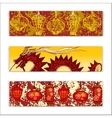 banner set with traditional chinese vector image
