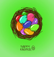 Bird nest with easter eggs