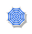 blue and white striped beach umbrella with shadow vector image vector image