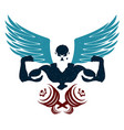 bodybuilder with wings and dumbbells silhouette vector image