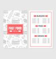 burger menu template design with hand-drawn vector image