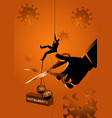 businessman climbing on rope meanwhile a giant vector image vector image
