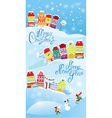Card with small fairy town on light blue sky backg vector image vector image