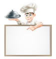 cartoon chef with cloche and menu vector image vector image
