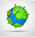 Cartoon earth planet with trees