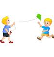 cartoon kids playing kites vector image vector image