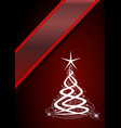 christmas tree red background with stars vector image vector image