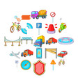 city icons set cartoon style vector image vector image