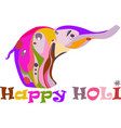 concept for a holiday happy holi ornate elephant vector image