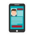 curriculum vitae cv on cellphone screen icon vector image