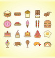 cute foods icon set vector image