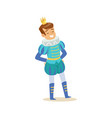 cute little smiling boy wearing a blue prince vector image vector image